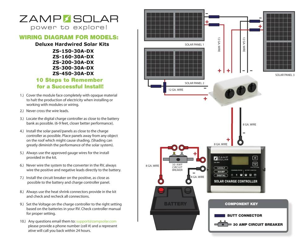 z solar zs 450 30a dx 450 watt 30 amp deluxe rv kit